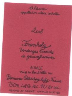 Etikett FRONHOLZ Vendanges Tardives de Gewurztraminer, Domaine Ostertag, Epfig